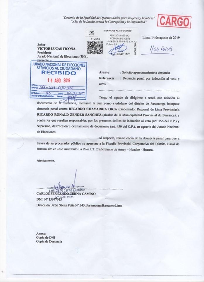 Oficio de denuncia iducción al voto al JNE en la segunda vuelta