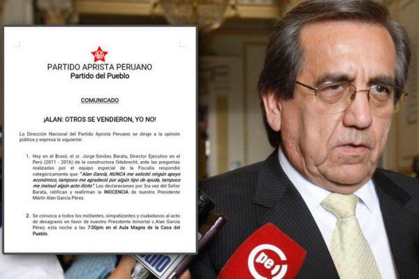 «Barata confirma por tercera vez que Alan García no le pidió dinero».